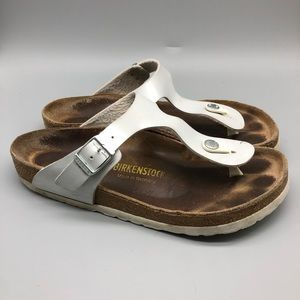 Birkenstock white leather Gizeh thong sandals